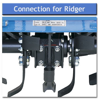 The trailed ridger can be attached to the rotavator allowing for digging and ridging in one pass