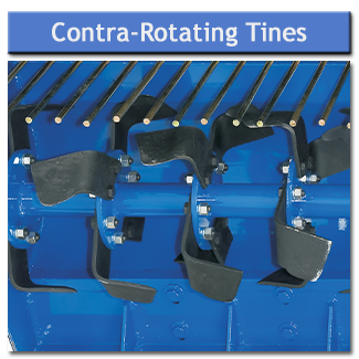 Contra-rotating tines dig the ground whilst grading rods trap stones so the soil is thrown on top to bury them