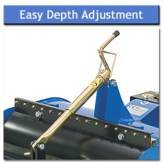 The digging depth is easily adjusted by turning the handle which moves the roller so the desired depth is achieved