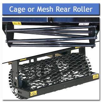 The rear roller is available as a mesh roller which is ideal for dry conditions or a cage roller which is better suited to wet ground