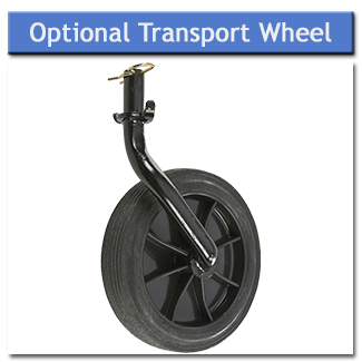 The optional transport wheel raises the rotavator off the ground for easy manoeuvring from storage to work area