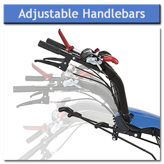 The handlebars can be height adjusted for operator comfort and safety, and offset to the side to avoid walking on cultivated ground
