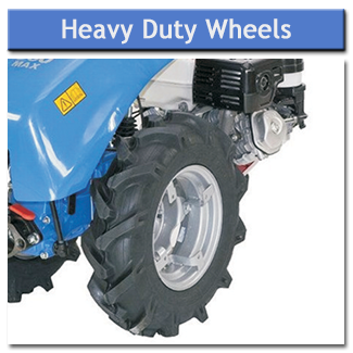 Heavy duty agricultural wheels offer good grip and provide plenty of traction