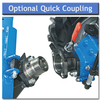The optional quick coupling allows implements to be changed over quickly and without the need for tools